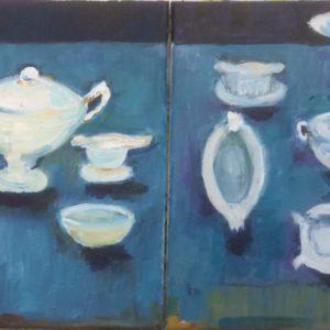 Tweeluik in blauw | Acryl op doek | 40 x 20 cm
