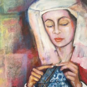 Breiende Madonna | 100x100 cm gemengde techniek in olieverf