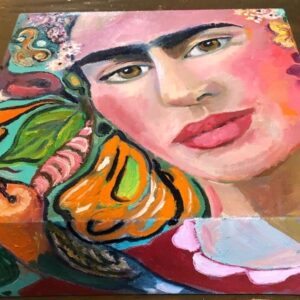 Frida blokschilderij | 20x20x10 cm