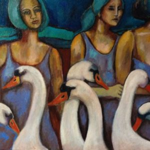 Girls with swans