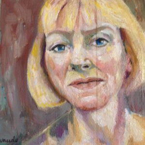 Portret Thecla   olie op sloophout   24 x 24 cm