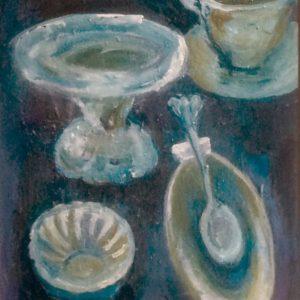 Servies in blauw 1 |  acryl op doek | 40x30 cm