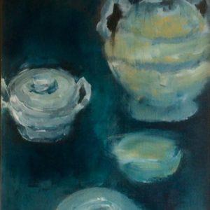 Servies in blauw 2 |  acryl op doek | 40 x 30 cm
