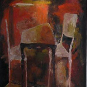 Twee stoelen | olie op doek | 100 x 120 cm